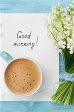 Preview iPhone wallpaper Good morning, coffee, lilies of the valley