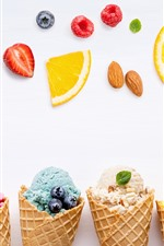 Preview iPhone wallpaper Ice creams, colorful, fruit slices