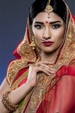 Preview iPhone wallpaper India girl, decoration, veil