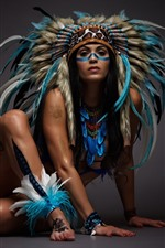 Preview iPhone wallpaper India girl, feathers, decoration, art photography
