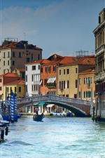 Preview iPhone wallpaper Italy, Venice, gondola, river, city, houses