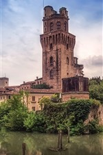 Preview iPhone wallpaper Italy, tower, houses, trees, river