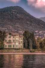 Preview iPhone wallpaper Italy, villa, trees, lake, mountains