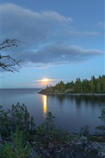 Lake Ladoga, Russia, trees, sunset, clouds