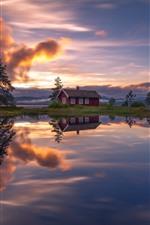 Lago, casa, árvores, reflexão da água, nuvens, pôr do sol