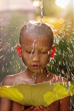 Preview iPhone wallpaper Little boy, water splash, lotus leaf