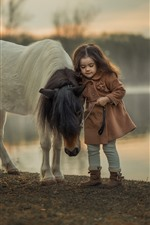 Little girl and pony, child