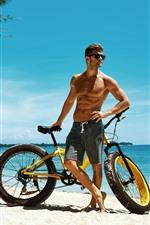 Preview iPhone wallpaper Man and bike, beach, sea, tropical