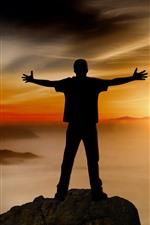 Homem, silueta, montanhas, nevoeiro, pôr do sol