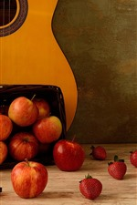 Many apples and strawberries, guitar