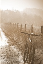 Preview iPhone wallpaper Morning, fog, bike, fence, grass, hazy