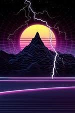 iPhone обои Гора, закат, молния, художественная картина