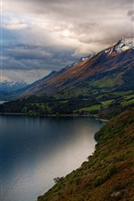 Preview iPhone wallpaper New Zealand, lake, mountains, road, clouds