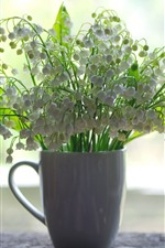 One cup of white flowers, lilies of the valley