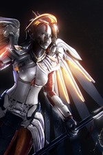 Preview iPhone wallpaper Overwatch, Mercy, wings