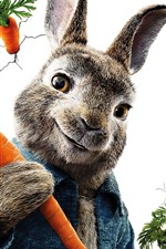 Preview iPhone wallpaper Peter Rabbit, white background, carrot