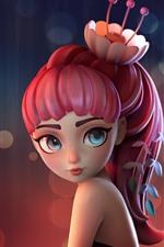 미리보기 iPhone 배경 화면 핑크 머리 판타지 소녀, 꽃, 예술 사진