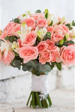 Preview iPhone wallpaper Pink roses, bouquet, bricks