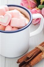 Rosas cor de rosa, copo, café, corações de amor, romântico