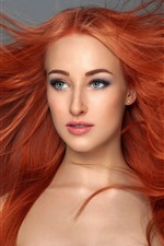 Preview iPhone wallpaper Red hair girl, hairstyle, art photography