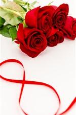 Rosas vermelhas, buquê, fita vermelha, 8 de março