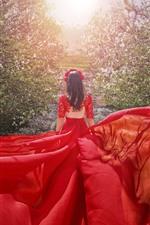 Menina saia vermelha, vista traseira, flores, sol, primavera