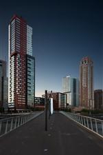 Preview iPhone wallpaper Rotterdam, Netherlands, skyscrapers, bridge, dusk, city
