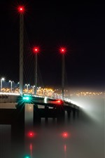Preview iPhone wallpaper Scotland, bridge, river, lights, night, fog, city