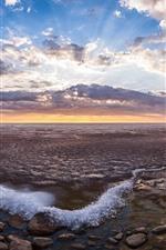 미리보기 iPhone 배경 화면 바다, 돌, 나무, 구름, 황혼, 일몰