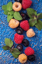 Preview iPhone wallpaper Some berries, blackberry, raspberry, blue background