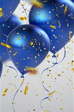Preview iPhone wallpaper Some blue balloons, confetti, congratulation
