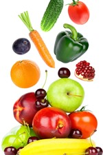 Preview iPhone wallpaper Some fruit and vegetables, white background