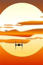 Preview iPhone wallpaper Star Wars, sunset, spaceship, silhouette