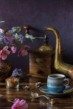 Preview iPhone wallpaper Still life, kettle, tea, bread, flowers, lamp