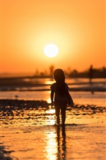 Preview iPhone wallpaper Sunset, river, little girl, child, silhouette