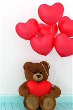 Preview iPhone wallpaper Teddy bear, red love hearts balloons, romantic