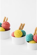 Preview iPhone wallpaper Three cups of ice cream balls, colorful
