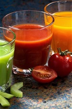 Preview iPhone wallpaper Three cups of vegetable juice, green, red, orange