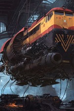 Preview iPhone wallpaper Trains, future, sci-fi, art picture