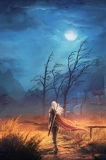 Preview iPhone wallpaper Trees, rain, mountain, warrior, sword, night, clouds, moon, art picture