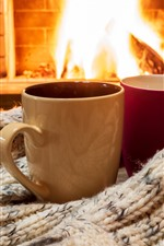 Preview iPhone wallpaper Two cups, sweater, fireplace