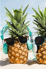 Preview iPhone wallpaper Two pineapples, sunglasses, beach, funny picture