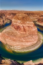 Preview iPhone wallpaper USA, Colorado, Horseshoe Bend, river, mountains, rocks