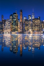 Preview iPhone wallpaper USA, Manhattan, New York, city at night, skyscrapers, lights, river, reflection