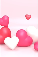 Preview iPhone wallpaper White and pink love hearts, creative picture