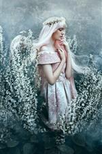 Menina de cabelos brancos, saia, flores, coroa