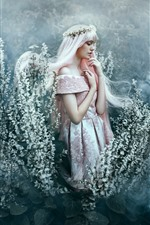 Preview iPhone wallpaper White hair girl, skirt, flowers, wreath