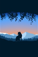 Wolf, hole, mountains, silhouette, art picture