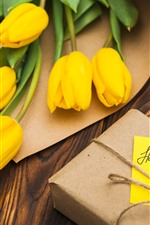 Yellow tulips, gift, Happy Mothers Day