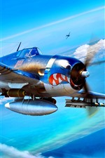 Preview iPhone wallpaper Aircraft, bombs, clouds, war, art picture